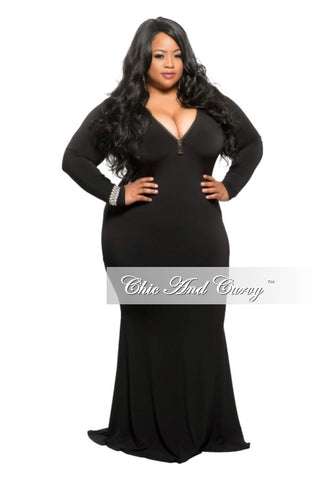 Final Sale Plus Size Bodycon Gown with Front Gold Zipper in Black