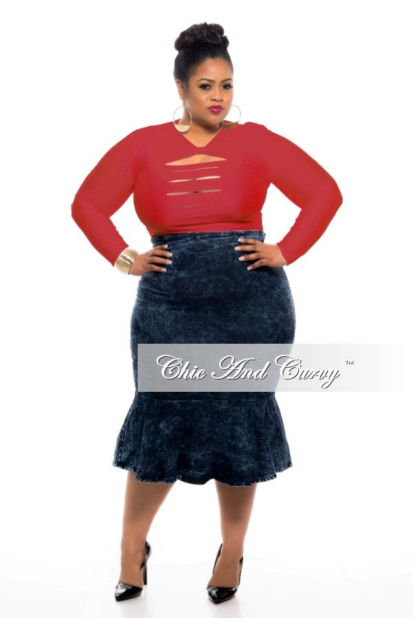 Final Sale Plus Size Leotard   Bodysuit with Front Cutouts in Red – Chic  And Curvy c8c49ce47