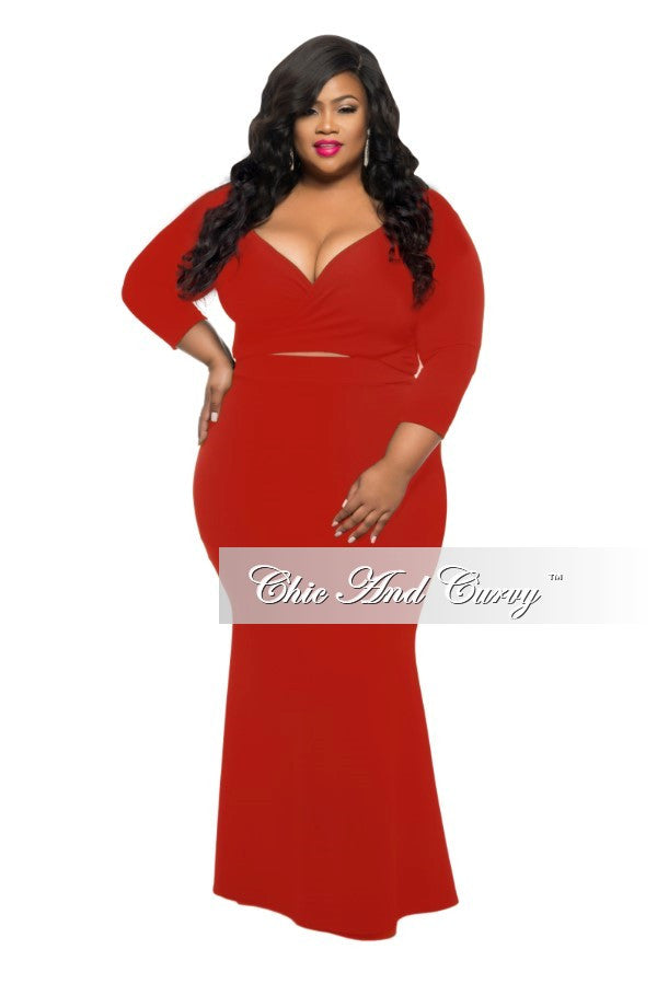 New Plus Size Set 2-piece Reversible Faux Wrap Top & Long Skirt In Red
