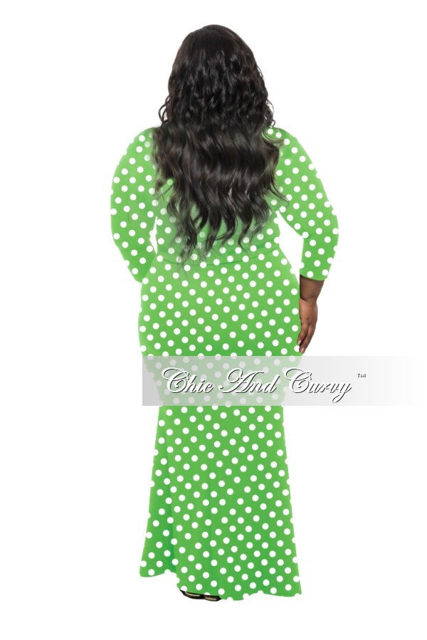 New Plus Size Set 2-piece Reversible Faux Wrap Top & Long Skirt In Lime Green and White Polka Dot Print