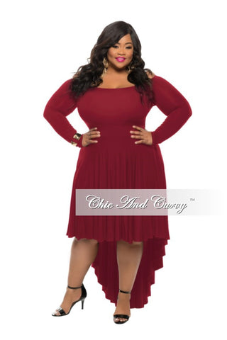 New Plus Size Off the Shoulder Dress with High-Low Bottom in  Burgundy
