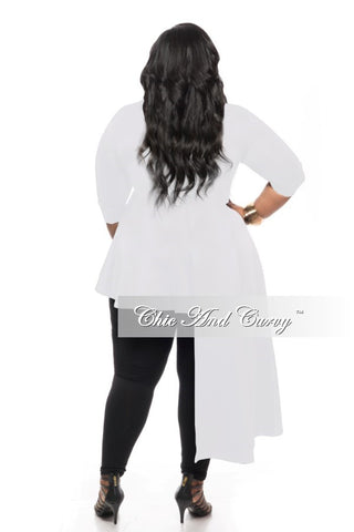 Outlet Plus Size Top with 3/4 Sleeves and Peplum Side Tail in White