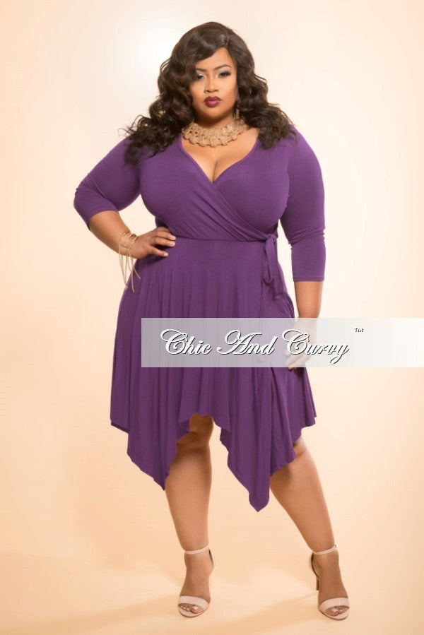 New Plus Size Handkerchief Dress with Faux Wrap Top and Tie in Purple