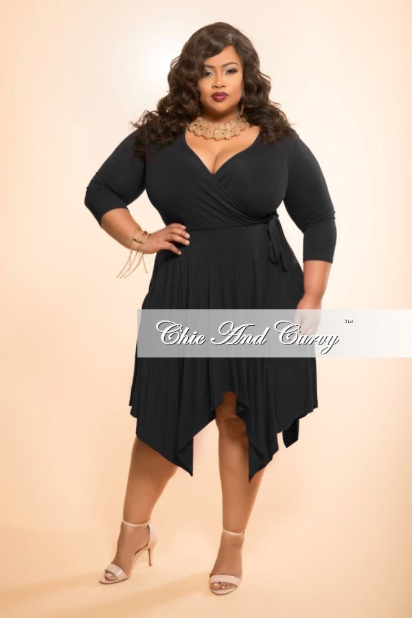 New Plus Size Handkerchief Dress with Faux Wrap Top and Tie in Black