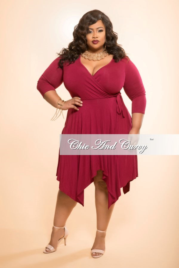 New Plus Size Handkerchief Dress with Faux Wrap Top and Tie in Burgundy