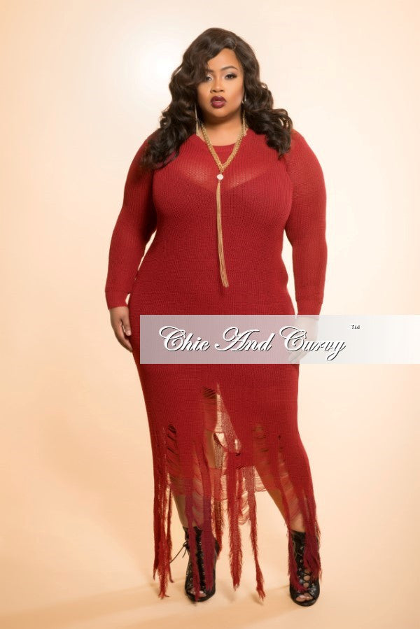 Final Sale Distressed Sweater Dress in Burgundy