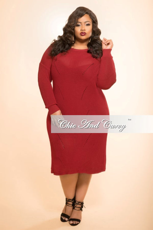 Final Sale Sweater Dress with Distressed Back in Burgundy