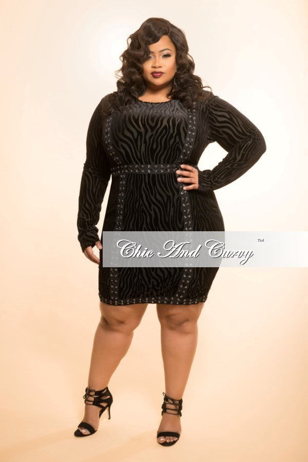 New Plus Size BodyCon Dress with Animal Print and Embellishment in Black