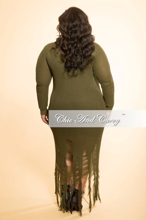 Final Sale Distressed Sweater Dress in Olive Green