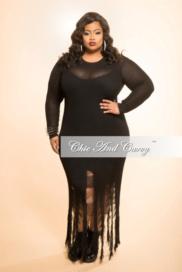 Final Sale Distressed Sweater Dress In Black Chic And Curvy