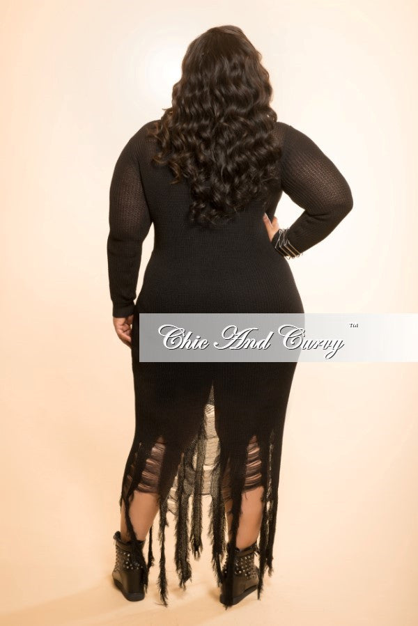 Final Sale Distressed Sweater Dress in Black