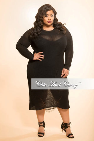 Final Sale Plus Size Top with Neck Tie in Black
