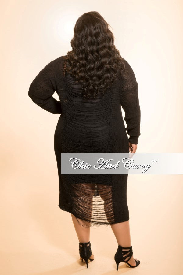 Final Sale Sweater Dress with Distressed Back in Black