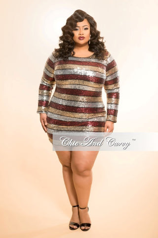 New Plus Size BodyCon Sequin Dress in Gold, Burgundy and Silver