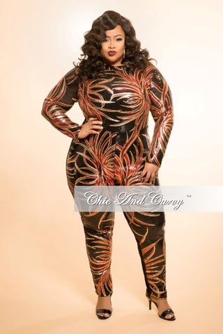 Final Sale Plus Size Sequin Jumpsuit with Back Cutout in Black, Gold, and Red Design