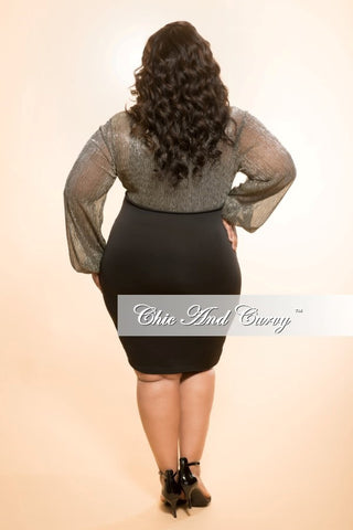 New Plus Size BodyCon Dress with Lower Lace-Up in Gold and Silver