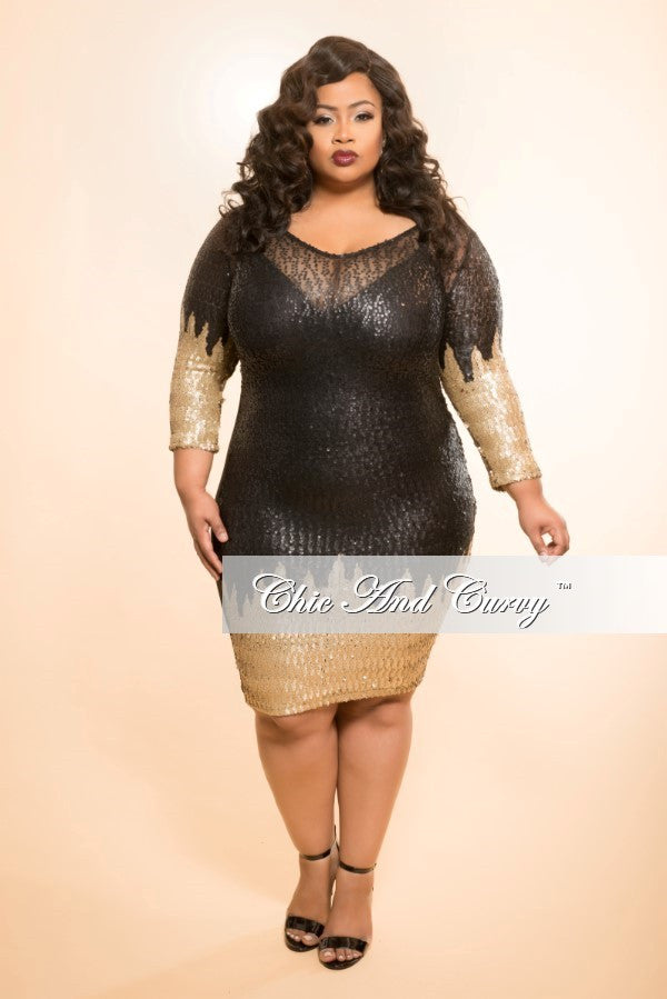 Final Sale Plus Size BodyCon Sequin Dress in Black and Gold