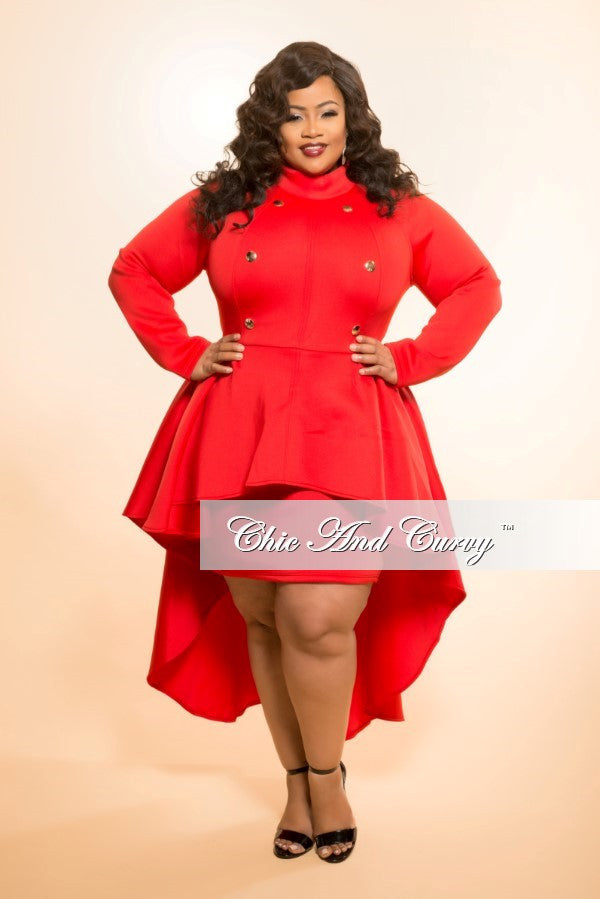 New Plus Size BodyCon Military Dress with Peplum Tail in Red