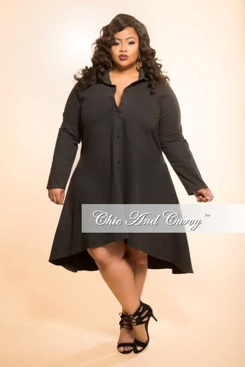 35% Off Sale - Final Sale  Plus Size High Low Dress with Collar in Black