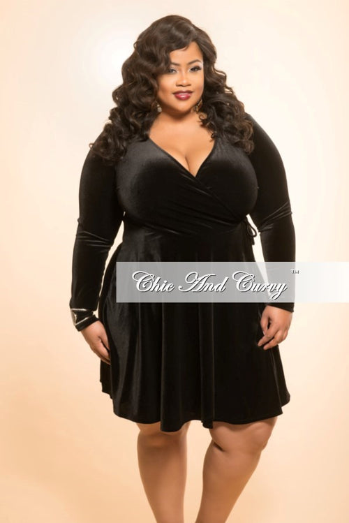 Final Sale Plus Size Velour Faux Wrap Tie Dress in Black