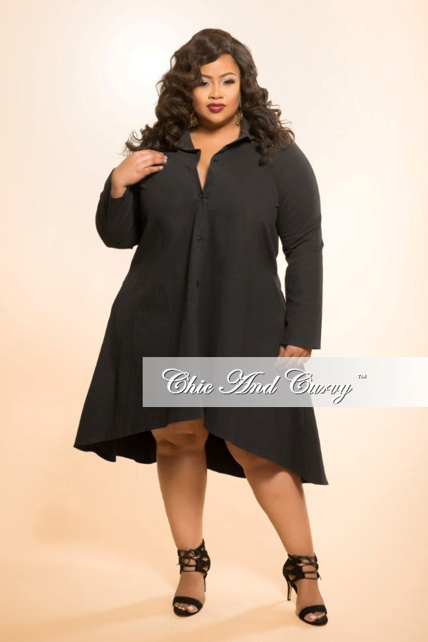 New Plus Size High Low Dress with Collar in Black