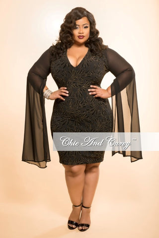 New Plus Size BodyCon Dress with Sheer Sleeves and Gold Stone Front in Black