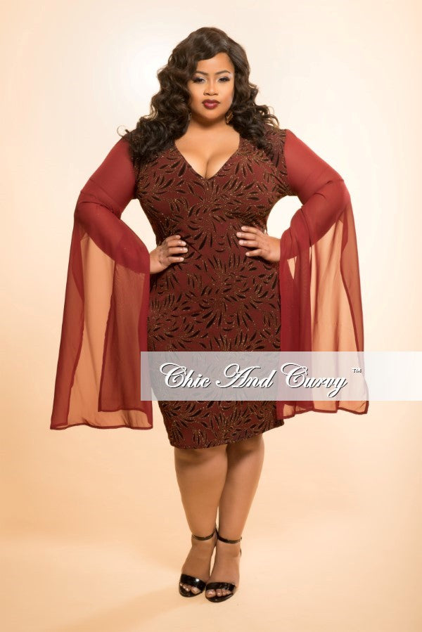 New Plus Size BodyCon Dress with Gold Embellishments and Slit Sleeves in Burgundy
