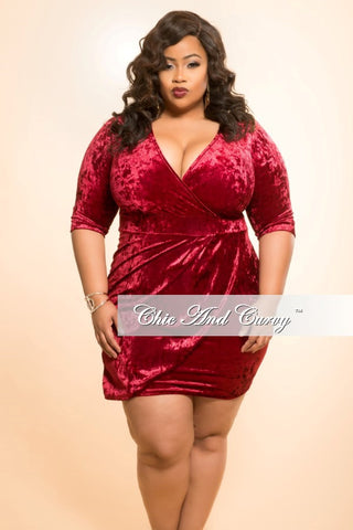 Final Sale Plus Size BodyCon Velvet Dress in Burgundy