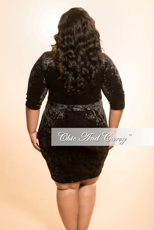 Final Sale Plus Size BodyCon Velvet Dress in Black