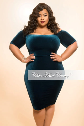 New Plus Size BodyCon Velvet Dress with Off the Shoulder Sleeves in Dark Teal