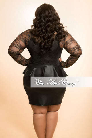 New Plus Size BodyCon Dress with Sheer Top and Liquid Peplum Bottom in Black