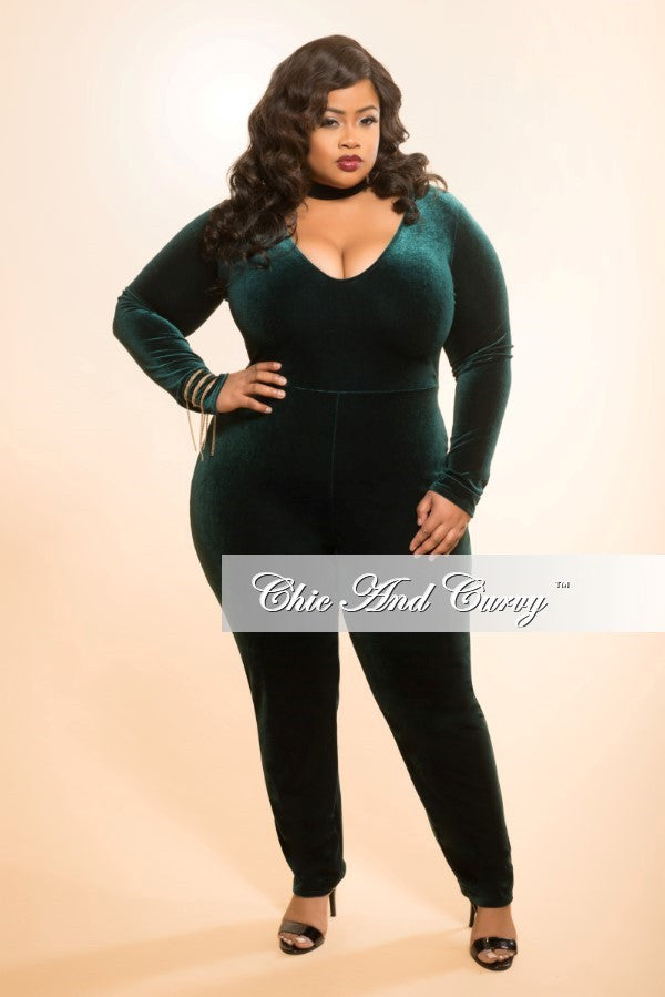 50988766fc86 Final Sale Plus Size Velour Bodysuit/Jumpsuit in Green – Chic And Curvy