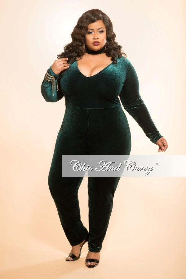 Final Sale Plus Size Velour Bodysuit Jumpsuit In Green Chic And Curvy