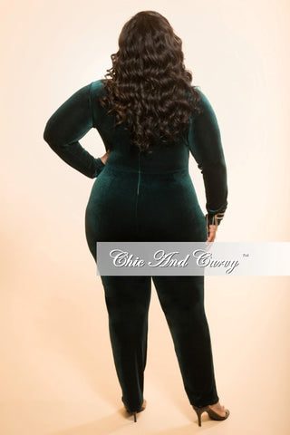 New Plus Size Velour Bodysuit/Jumpsuit in Green