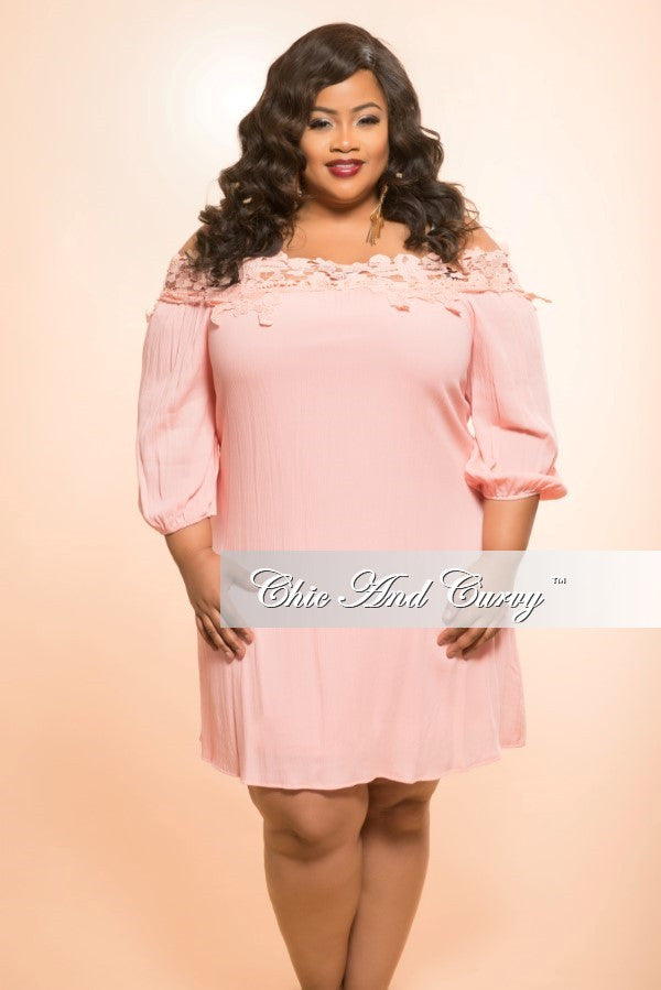 New Plus Size Off the Shoulder Dress with Embroidered Lace Top in Peach