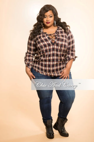 Final Sale Plus Size Top with Lace Up Bust in Plaid Red, Yellow, and Blue