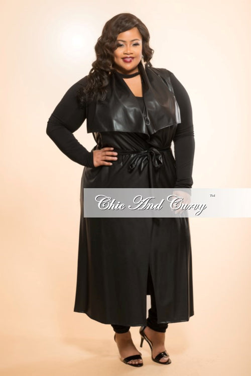 New Plus Size Long Length - Sleeveless (Vest) Jacket in Black Liquid