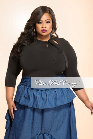 Final Sale Plus Size Top with Neck Tie in Purple