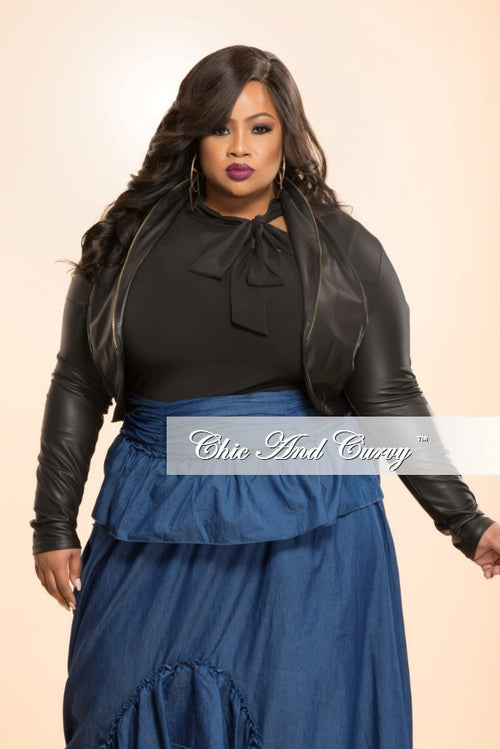 New Plus Size Cropped Liquid Jacket in Black