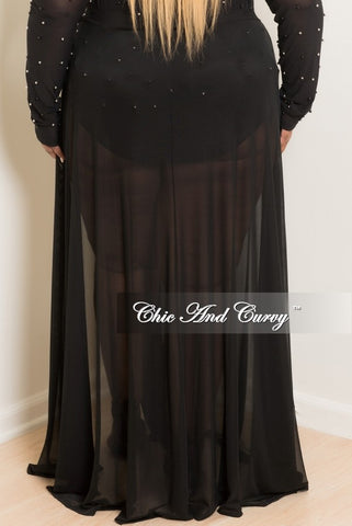 Final Sale Mesh Sheer Cover-Up Tie Skirt in Black