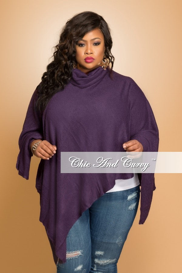 New Plus Size Turtle Neck Poncho in Navy
