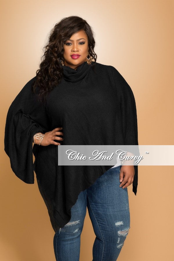 New Plus Size Turtle Neck Poncho in Black