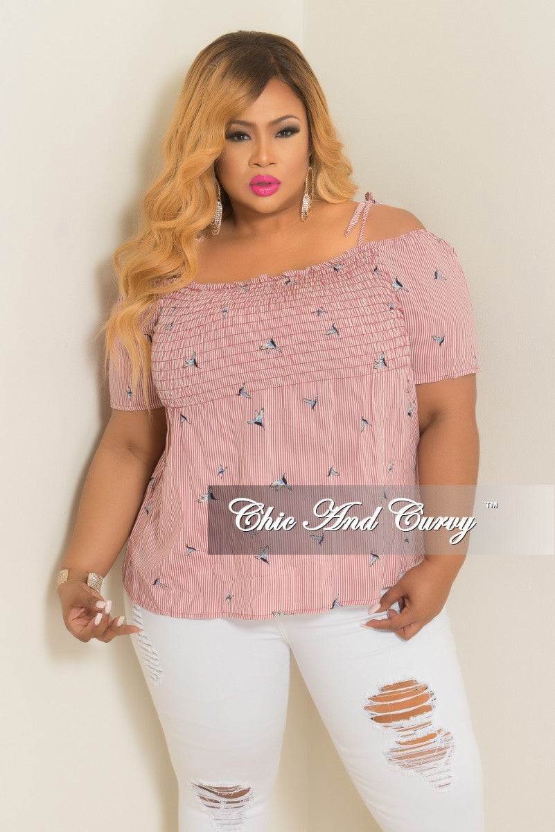New Plus Size Hummingbird Stripe Printed Cold Shoulder Top in Red and White