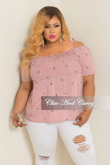 Final Sale Plus Size Hummingbird Stripe Printed Cold Shoulder Top in Red and White