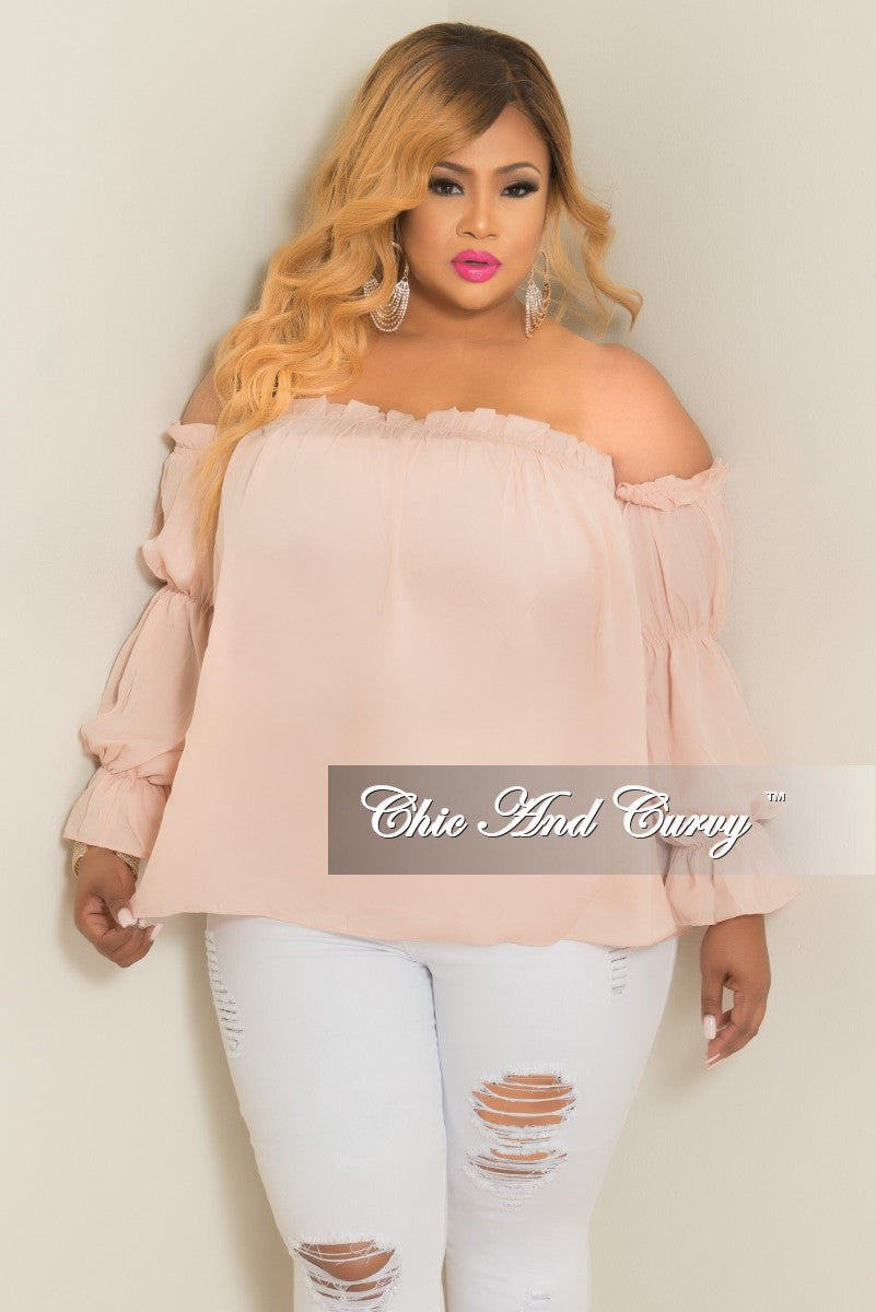 35% Off Sale - Final Sale Plus Size Off the Shoulder Top with Puff Sleeves in Salmon