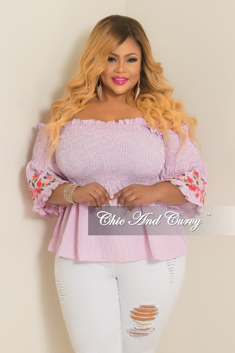 New Plus Size Stripe Top with Floral Embroidery Sleeves in Pink and White