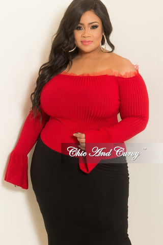 e00f12b8b7d New Plus Size Ribbed Off the Shoulder Bell Sleeve Top with Tulle Trim in Red