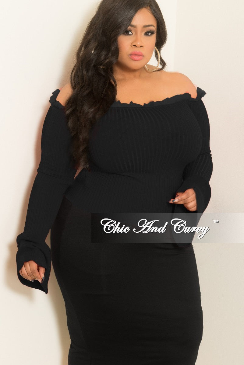 New Plus Size Ribbed Off the Shoulder Bell Sleeve Top with Tulle Trim in Black