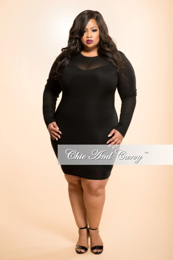 New Plus Size Bodycon Sheer Dress In Black No Lining Chic And Curvy