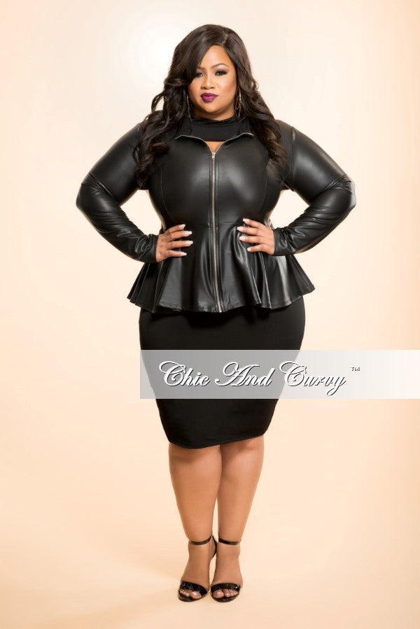 Final Sale Plus Size Liquid Peplum Jacket with Gold Zipper in Black